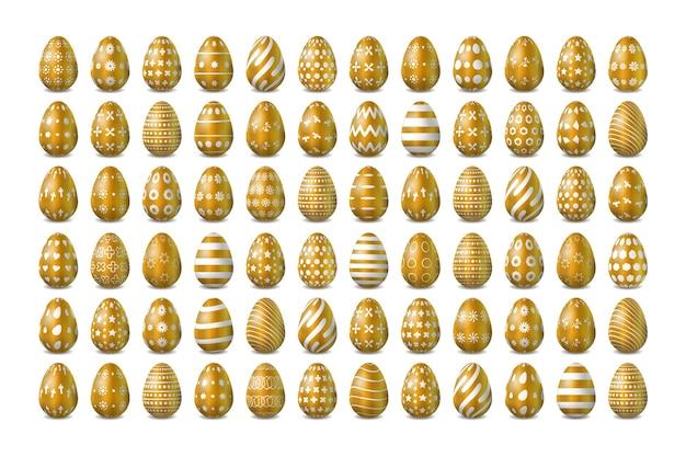 Conjunto de diseño realista de pascua dorado