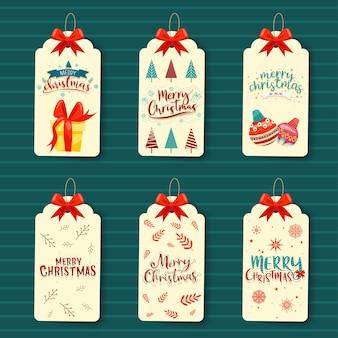Conjunto de diseño de regalo de etiqueta de navidad