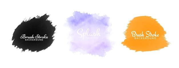 Conjunto de diseño de salpicaduras de acuarela colorida abstracta tres