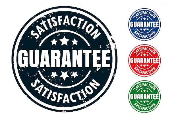 Conjunto de diseño de sello de sello de goma de garantía de satisfacción