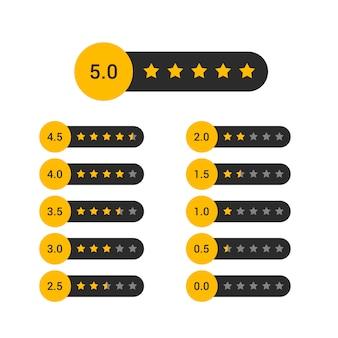Conjunto de diseño de símbolo de clasificación de estrellas