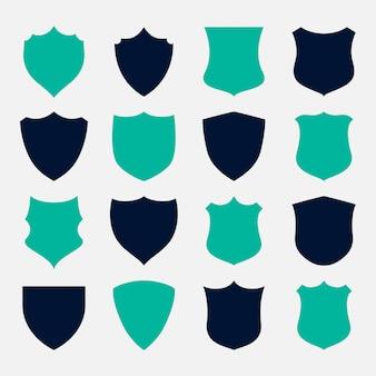 Conjunto de diseño de símbolos e iconos de escudo