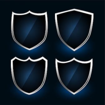 Conjunto de diseño de símbolos o insignias de escudo metálico