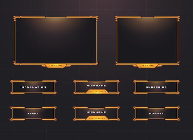 Conjunto de diseño de superposición de panel de menú y borde de twitch