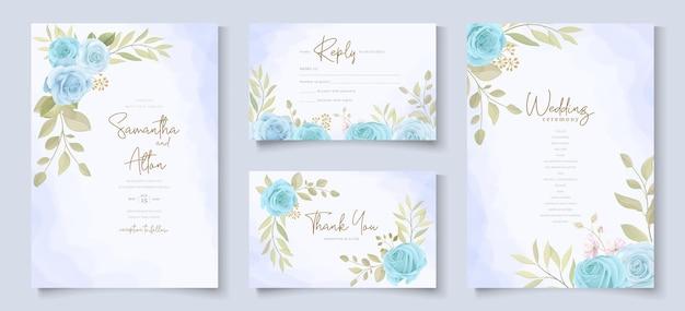 Conjunto de diseño de tarjeta de boda con rosas azules