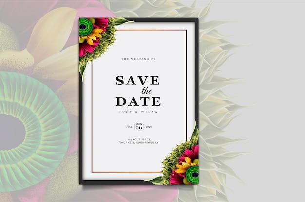 Conjunto de diseño de tarjeta de invitación de boda de lujo guardar la fecha