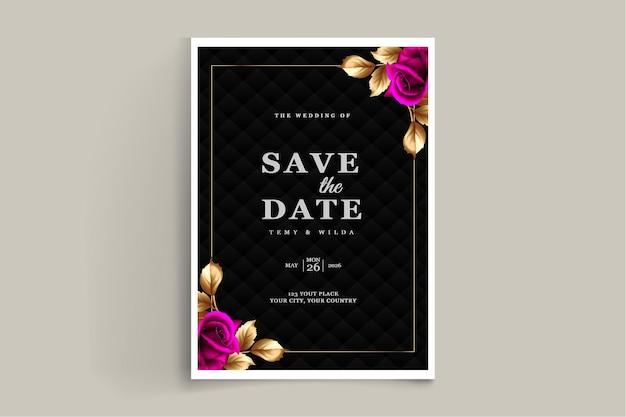 Conjunto de diseño de tarjeta de invitación de boda de lujo