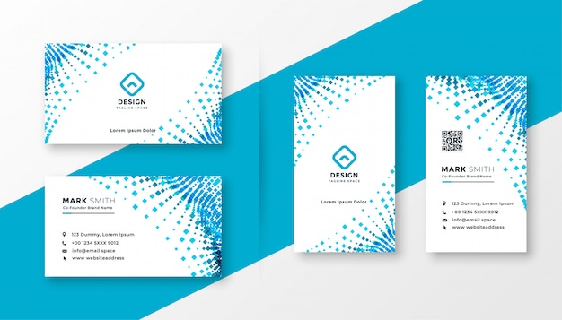 Conjunto de diseño de tarjeta de visita de semitono azul abstracto