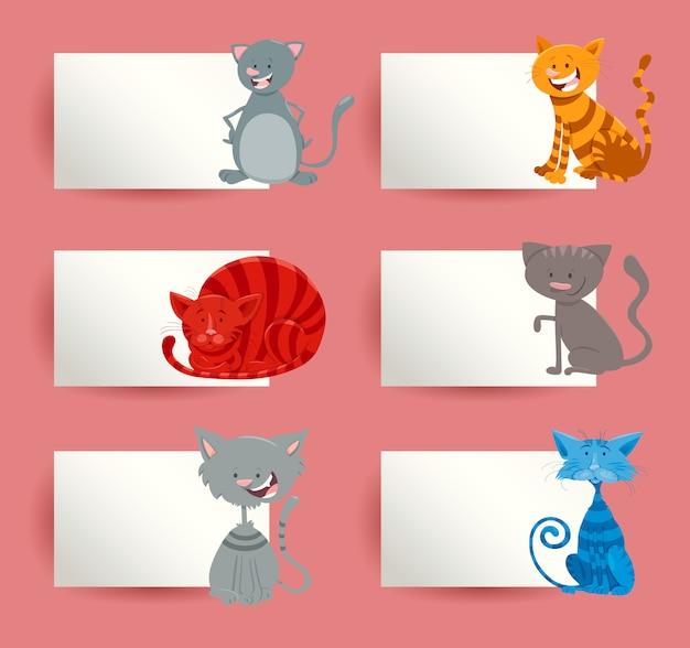 Conjunto de diseño de tarjetas de dibujos animados de gatos y gatitos