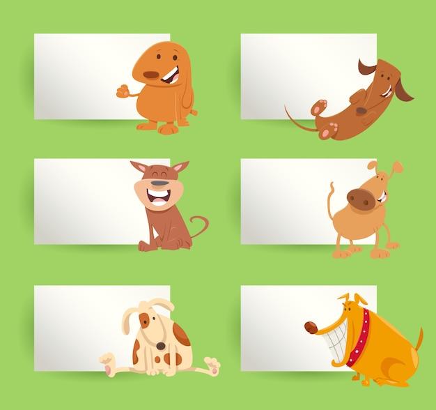 Conjunto de diseño de tarjetas de dibujos animados de perros y cachorros
