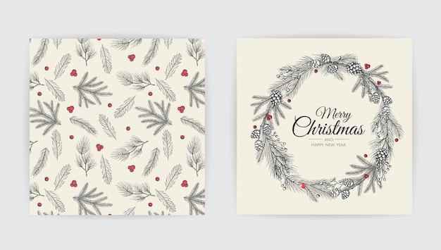 Conjunto de diseño de tarjetas de felicitación con árbol de navidad