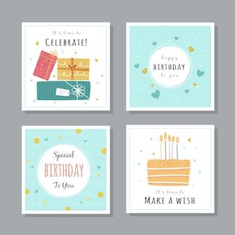 Conjunto de diseño de tarjetas de felicitación de cumpleaños