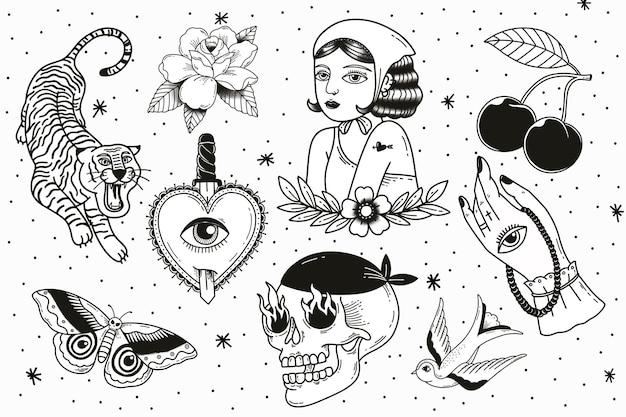 Conjunto de diseño de tatuaje creativo mínimo.