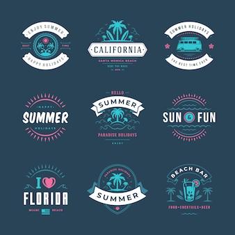 Conjunto de diseño de tipografía de etiquetas y distintivos de vacaciones de verano.
