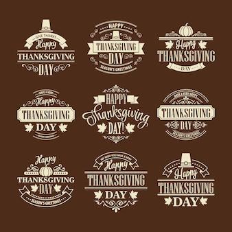Conjunto de diseño tipográfico de acción de gracias. ilustración vectorial eps 10