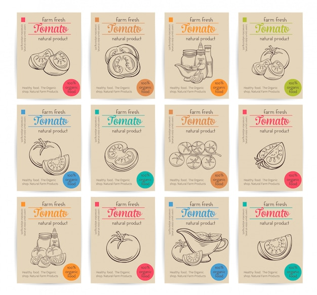 Conjunto de diseño de tomate de banners.