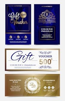 Conjunto de diseño de vale de regalo en colores azul dorado con monogramas.