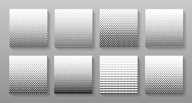 Conjunto de diseño de vector de patrones geométricos de semitono. colección de fondos degradados fundidos.