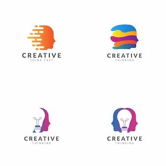 Conjunto de diseño de vector de plantilla de logotipo de pensamiento creativo