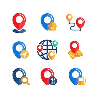Conjunto de diseño de vector de signo de icono de ubicación de pin