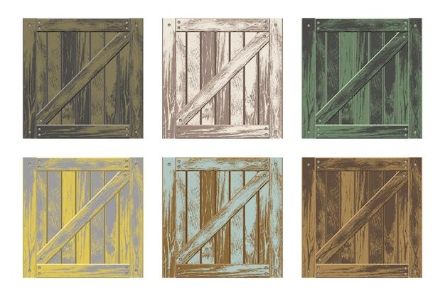 Conjunto de diseño de vectores de cajas de madera aislado en blanco