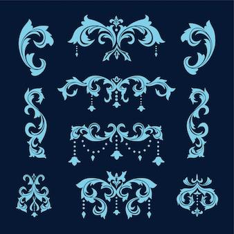 Conjunto de diseño victoriano barroco vintage