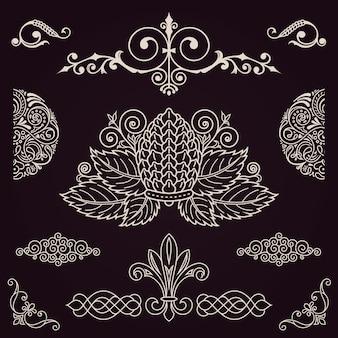 Conjunto de diseño vintage caligráfico