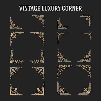 Conjunto de diseño vintage de esquina de lujo