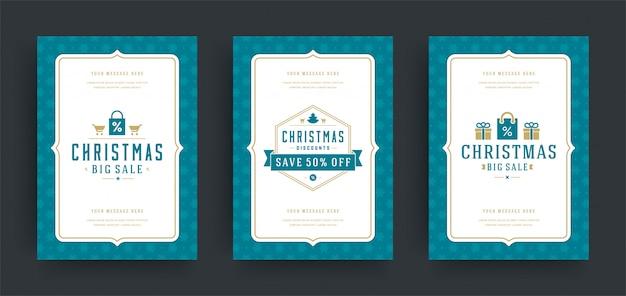 Conjunto de diseño de volantes o pancartas de venta de navidad