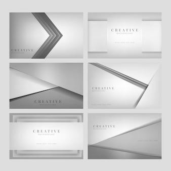 Conjunto de diseños abstractos de fondo creativo en gris claro
