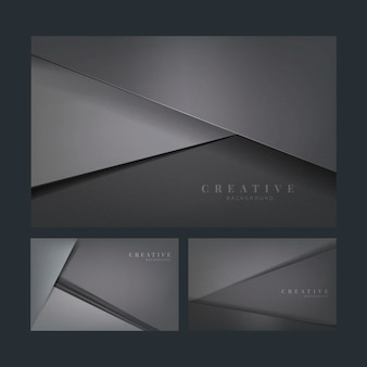 Conjunto de diseños abstractos de fondo creativo en gris oscuro