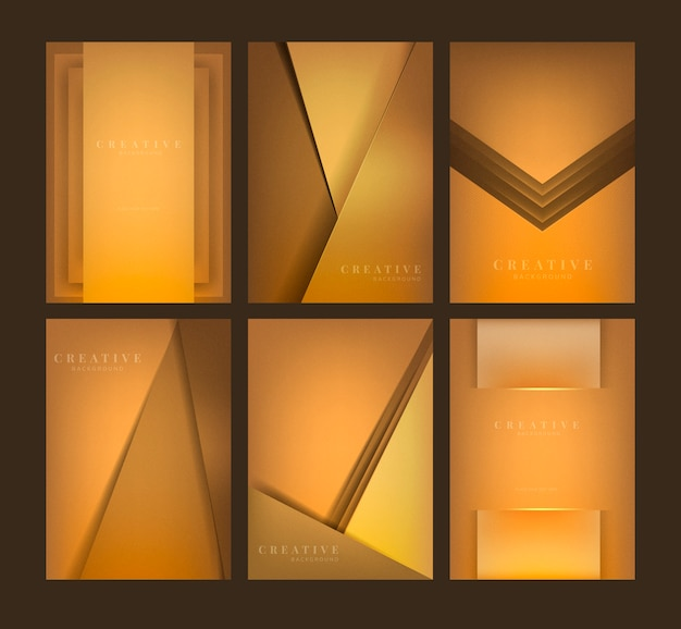 Conjunto de diseños abstractos fondo creativo en naranja