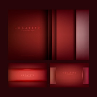 Conjunto de diseños abstractos fondo creativo en rojo profundo