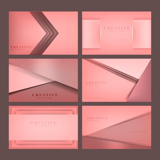 Conjunto de diseños abstractos fondo creativo en rosa