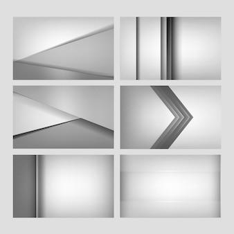 Conjunto de diseños abstractos de fondo en gris claro.