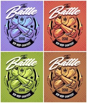 Conjunto de diseños de batalla de hip-hop