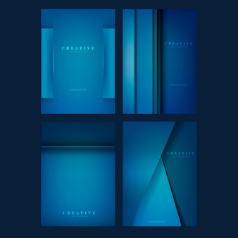 Conjunto de diseños creativos de fondo en azul profundo.