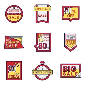 Conjunto de diseños de distintivos de venta