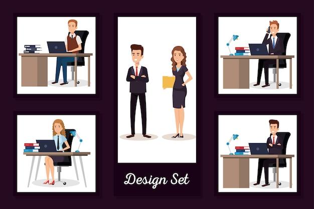 Conjunto de diseños de empresarios en el lugar de trabajo