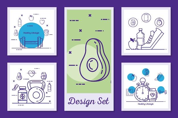 Conjunto de diseños de estilo de vida saludable