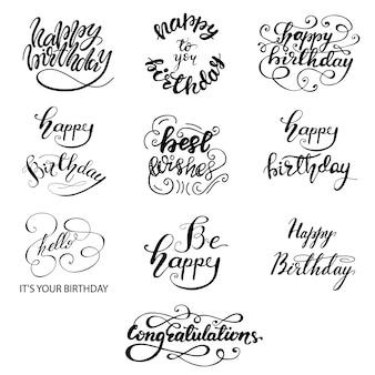 Conjunto de diseños de felicitación cumpleaños letras. ilustración vectorial