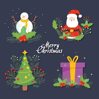 Conjunto de diseños de feliz navidad sobre fondo azul.