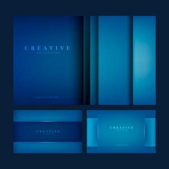 Conjunto de diseños de fondo creativos en azul profundo.