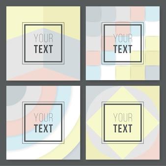 Un conjunto de diseños geométricos abstractos en gris, crema, azul claro y rosa pastel. tarjeta de felicitación moderna y original, invitación, plantillas de diseño de carteles.