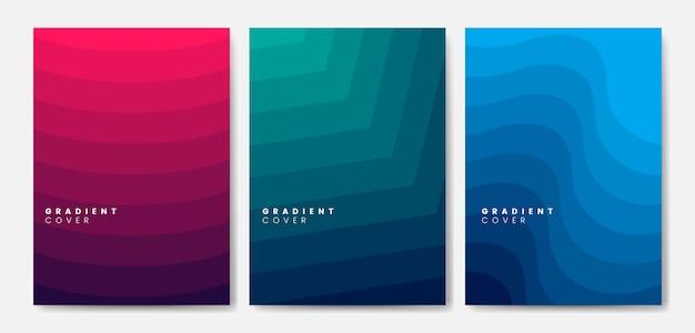 Conjunto de diseños gráficos de cubierta de degradado
