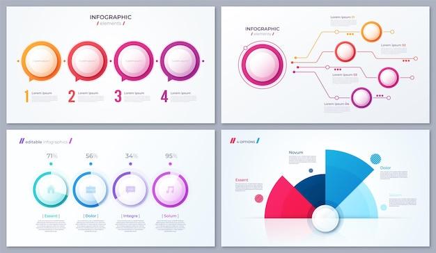 Conjunto de diseños infográficos de 4 opciones vectoriales, plantillas para informes, visualizaciones