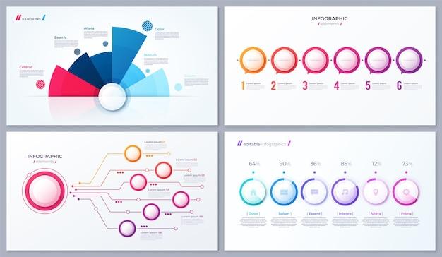 Conjunto de diseños infográficos de 6 opciones vectoriales, plantillas para informes, visualizaciones