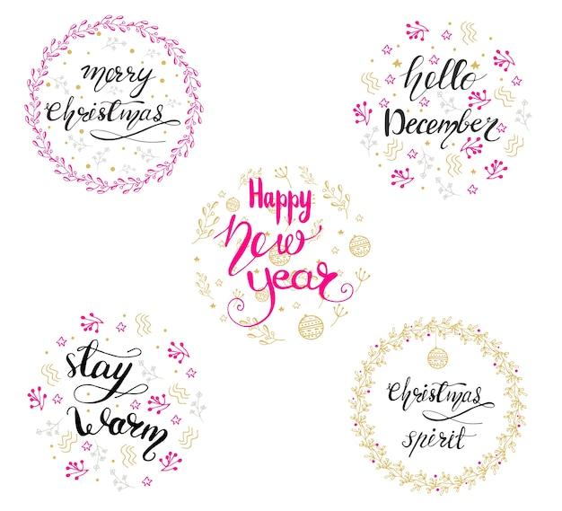 Conjunto de diseños de letras con saludos de navidad. ilustración vectorial