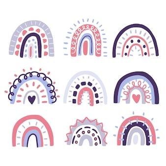 Conjunto de diseños lindos del bebé de la etiqueta engomada escandinava de la decoración del arco iris del doodle