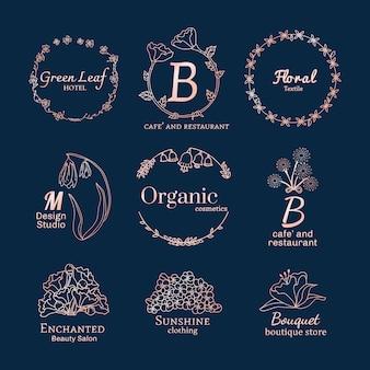 Conjunto de diseños de logo floral.